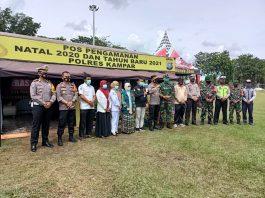Kapolres Kampar – Dandim Kunjungi Pospam Ops Lilin 2020 di Lapangan Merdeka Bangkinang