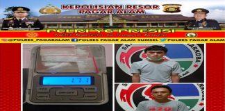 Selain Tangkap Pemuja Sabu, Satresnarkoba Polres Pagaralam Ciduk 2 Tersangka Pengedar 8 Paket Sabu
