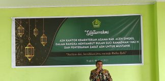 Sambut Ramadan 1442 H, ASN Kemenag Salurkan Zakat Pada Mustahik dan Muallaf di Aceh Singkil