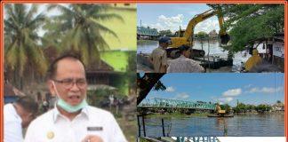 Bersihkan Bantaran Sungai dari Rumput Liar dan Enceng Gondok, Dinas PU PR OKI Turunkan Alat Berat