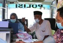 Team Vasdoor Polres Muara Enim Laksanakan Giat Vaksinasi Lansia Tahap Kedua