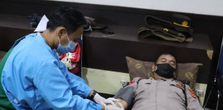 Meriahkan hari Bhayangkara ke 75, Polres Muara Enim Gandeng PMI Gelar Baksos Donor Darah